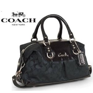Coach Ashley Signature Satchel Black Canvas Bag